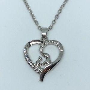 Jewelry - Mother & Child In Heart Silver Pendant Necklace